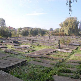 Gravstene på et område, der i 1923 blev skabt ved at lægge et ekstra lag jord over allerede eksisterende grave. Altså ligger gravene her i to lag. Foto: Jens Anders Wejsmark Sørensen